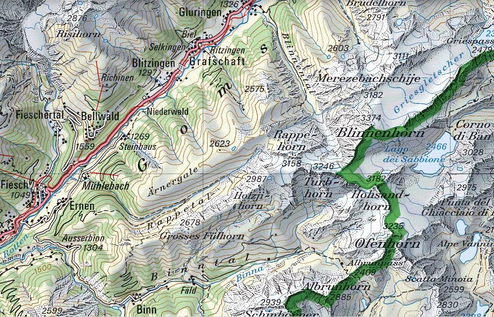 Kartenausschnitt mit nördlichem Binntal und unteren / mittleren Goms